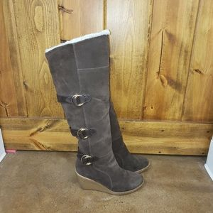 "Cole Haan ""Michelle"" Suede Wedge Tall Boot, sz 8.5"